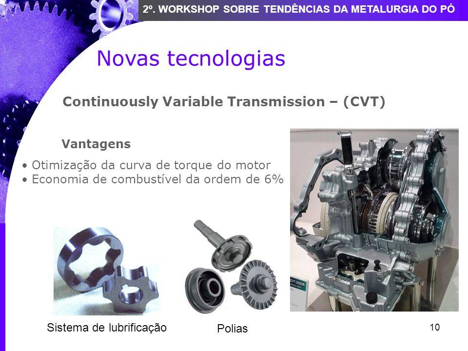 10 2º. WORKSHOP SOBRE TENDÊNCIAS DA METALURGIA DO PÓ Novas tecnologias Continuously Variable Transmission – (CVT) Vantagens Otimização da curva de tor