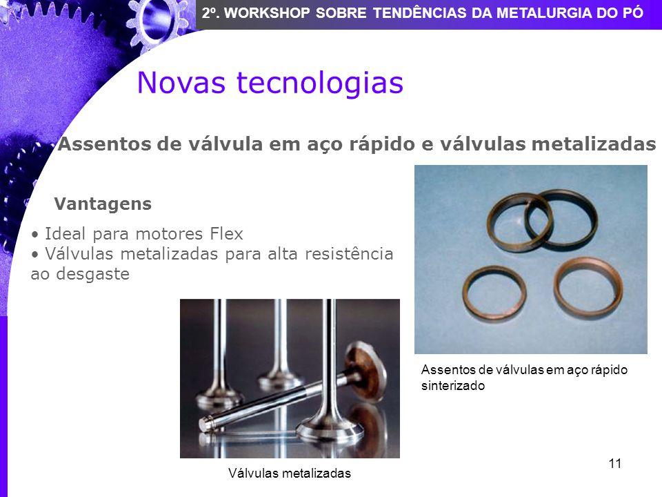 11 2º. WORKSHOP SOBRE TENDÊNCIAS DA METALURGIA DO PÓ Novas tecnologias Assentos de válvula em aço rápido e válvulas metalizadas Vantagens Ideal para m