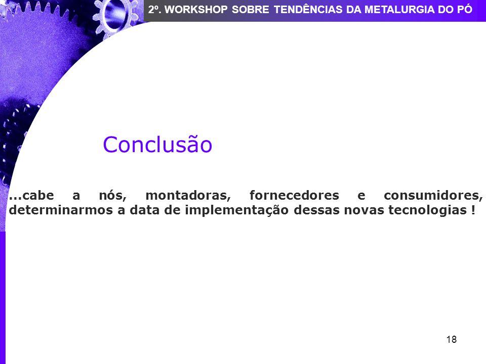 18 2º. WORKSHOP SOBRE TENDÊNCIAS DA METALURGIA DO PÓ Conclusão...cabe a nós, montadoras, fornecedores e consumidores, determinarmos a data de implemen