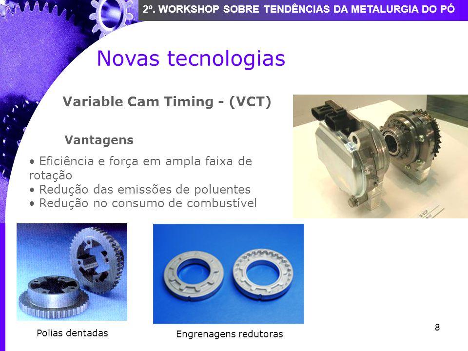 8 2º. WORKSHOP SOBRE TENDÊNCIAS DA METALURGIA DO PÓ Novas tecnologias Variable Cam Timing - (VCT) Vantagens Eficiência e força em ampla faixa de rotaç