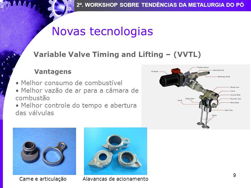 9 2º. WORKSHOP SOBRE TENDÊNCIAS DA METALURGIA DO PÓ Novas tecnologias Variable Valve Timing and Lifting – (VVTL) Vantagens Melhor consumo de combustív