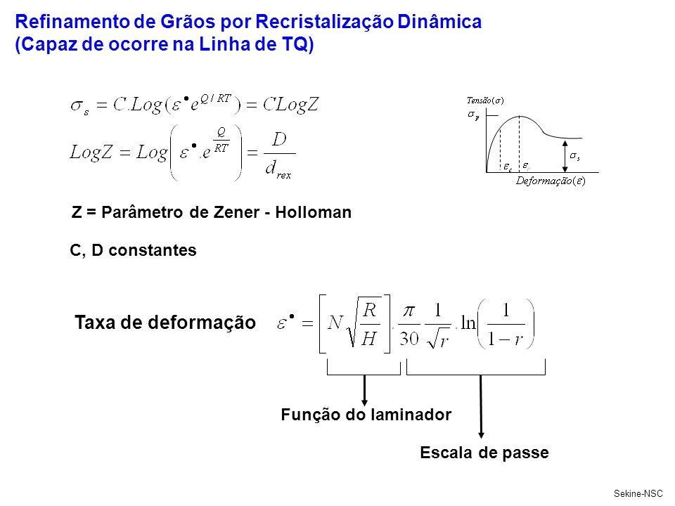 Refinamento de Grãos por Recristalização Dinâmica (Capaz de ocorre na Linha de TQ) Sekine-NSC C, D constantes Função do laminador Escala de passe Z =