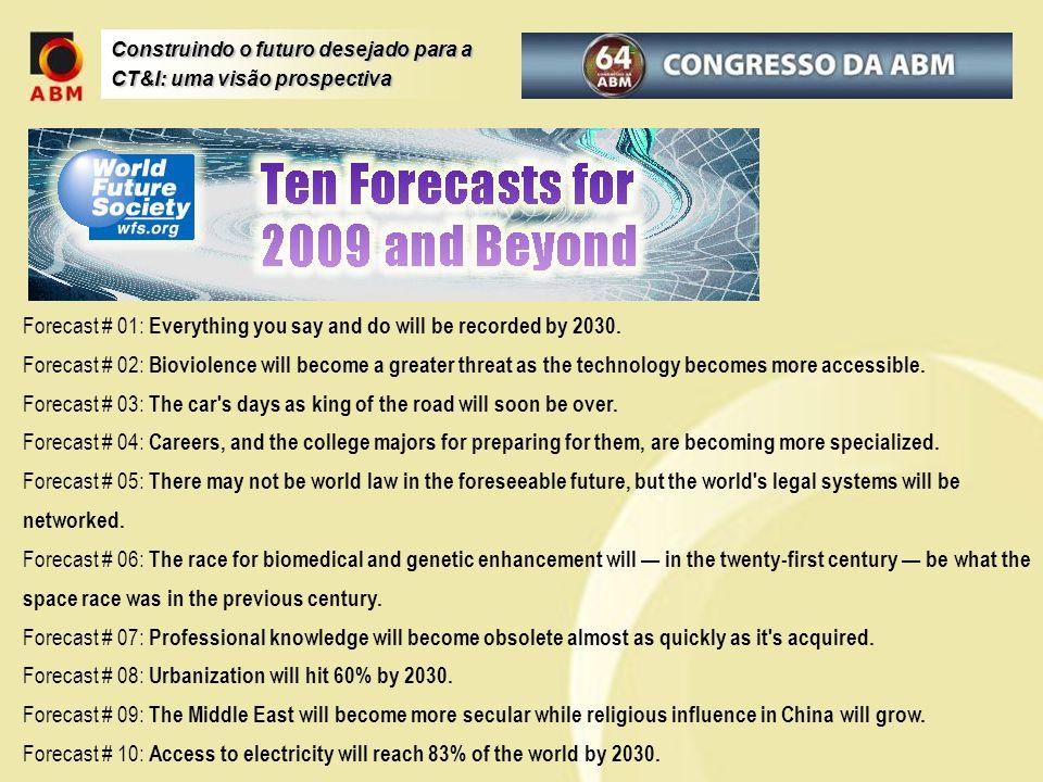 Construindo o futuro desejado para a CT&I: uma visão prospectiva Forecast # 01: Everything you say and do will be recorded by 2030. Forecast # 02: Bio