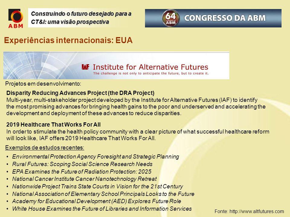 Construindo o futuro desejado para a CT&I: uma visão prospectiva Experiências internacionais: EUA Projetos em desenvolvimento: Fonte: http://www.altfu