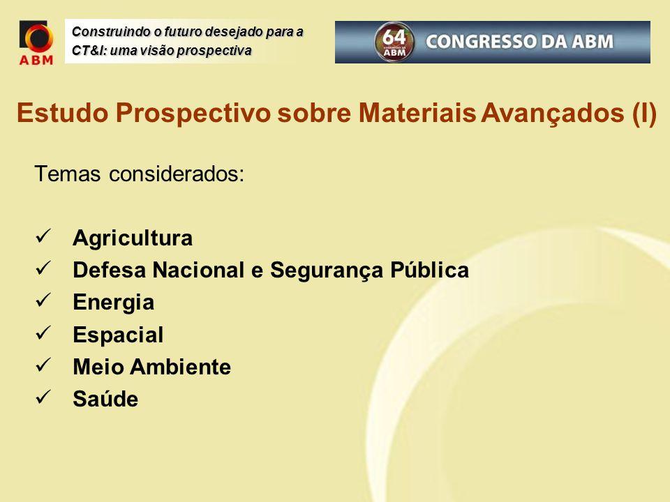 Temas considerados: Agricultura Defesa Nacional e Segurança Pública Energia Espacial Meio Ambiente Saúde Estudo Prospectivo sobre Materiais Avançados