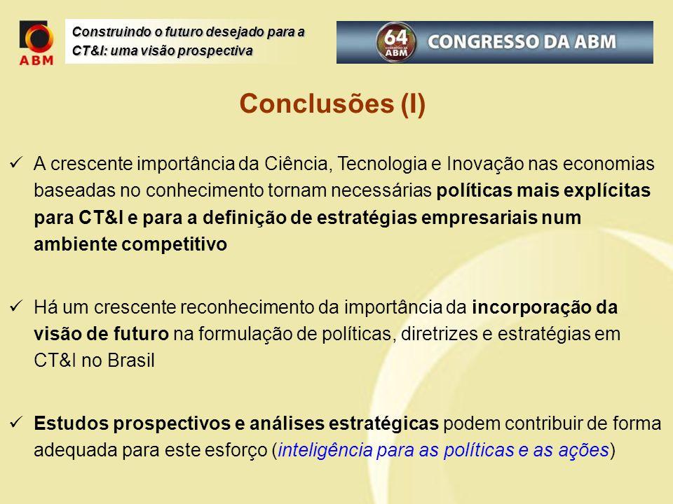 Construindo o futuro desejado para a CT&I: uma visão prospectiva Conclusões (I) A crescente importância da Ciência, Tecnologia e Inovação nas economia