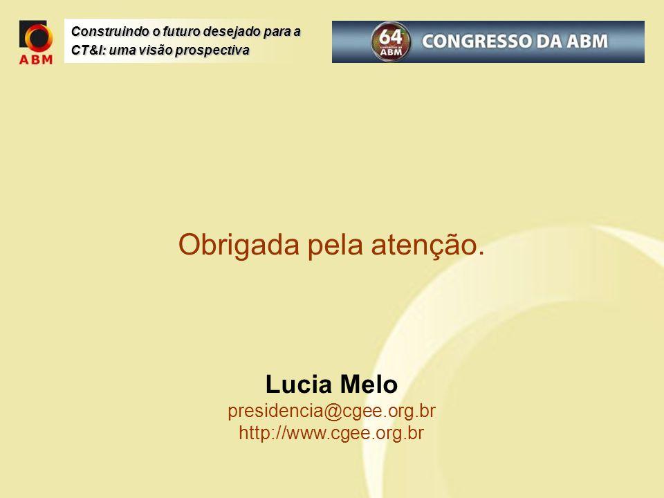Construindo o futuro desejado para a CT&I: uma visão prospectiva Obrigada pela atenção. Lucia Melo presidencia@cgee.org.br http://www.cgee.org.br