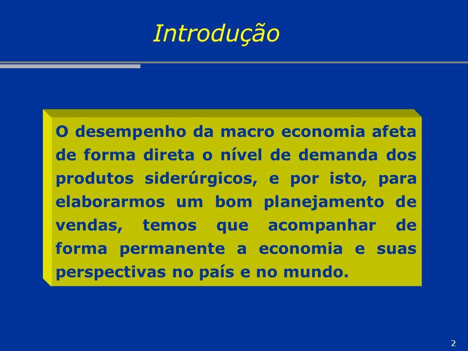 2 O desempenho da macro economia afeta de forma direta o nível de demanda dos produtos siderúrgicos, e por isto, para elaborarmos um bom planejamento