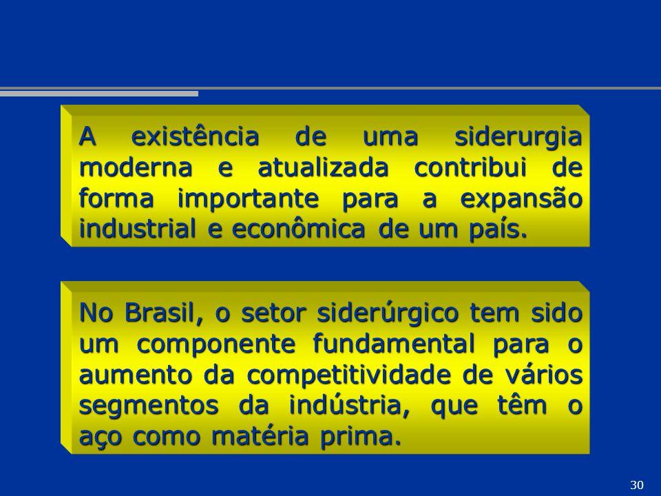 30 No Brasil, o setor siderúrgico tem sido um componente fundamental para o aumento da competitividade de vários segmentos da indústria, que têm o aço