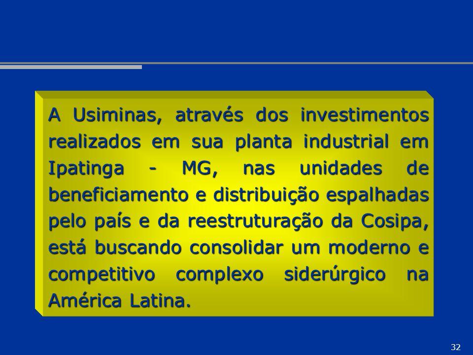 32 A Usiminas, através dos investimentos realizados em sua planta industrial em Ipatinga - MG, nas unidades de beneficiamento e distribuição espalhada