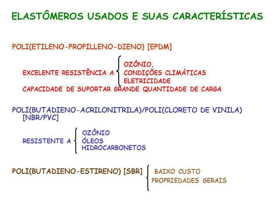 ELASTÔMEROS USADOS E SUAS CARACTERÍSTICAS POLI(ETILENO-PROPILLENO-DIENO) [EPDM] OZÔNIO, EXCELENTE RESISTÊNCIA A CONDIÇÕES CLIMÁTICAS ELETRICIDADE CAPA