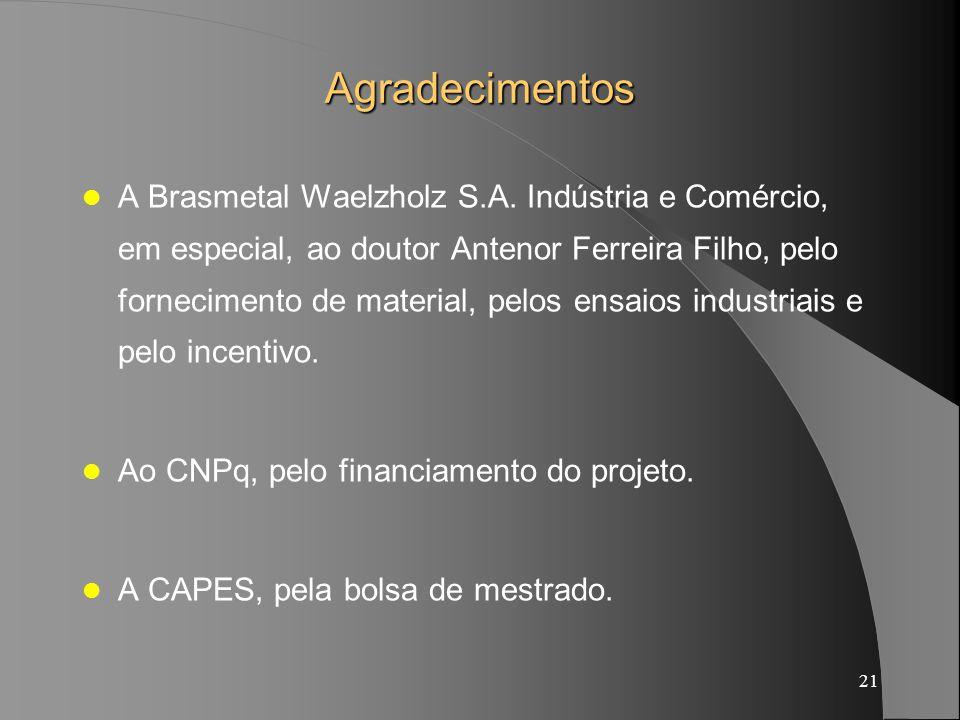 21 Agradecimentos A Brasmetal Waelzholz S.A. Indústria e Comércio, em especial, ao doutor Antenor Ferreira Filho, pelo fornecimento de material, pelos