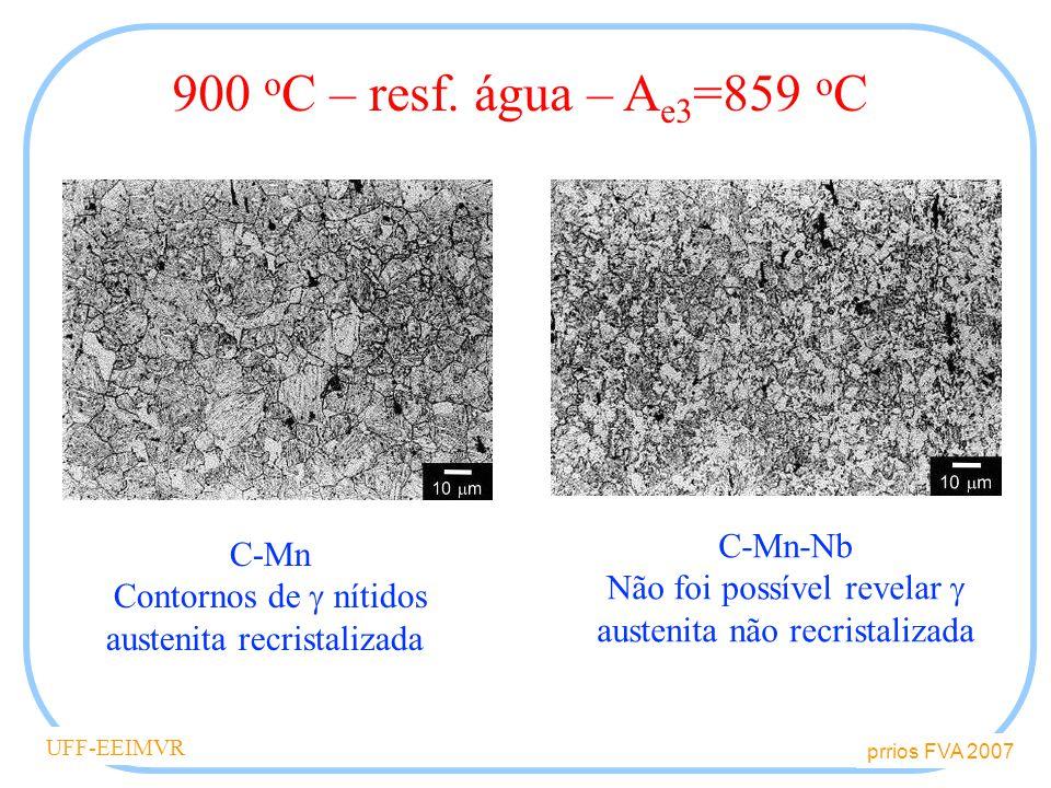 prrios FVA 2007 UFF-EEIMVR C-Mn Contornos de nítidos austenita recristalizada C-Mn-Nb Não foi possível revelar austenita não recristalizada 900 o C – resf.