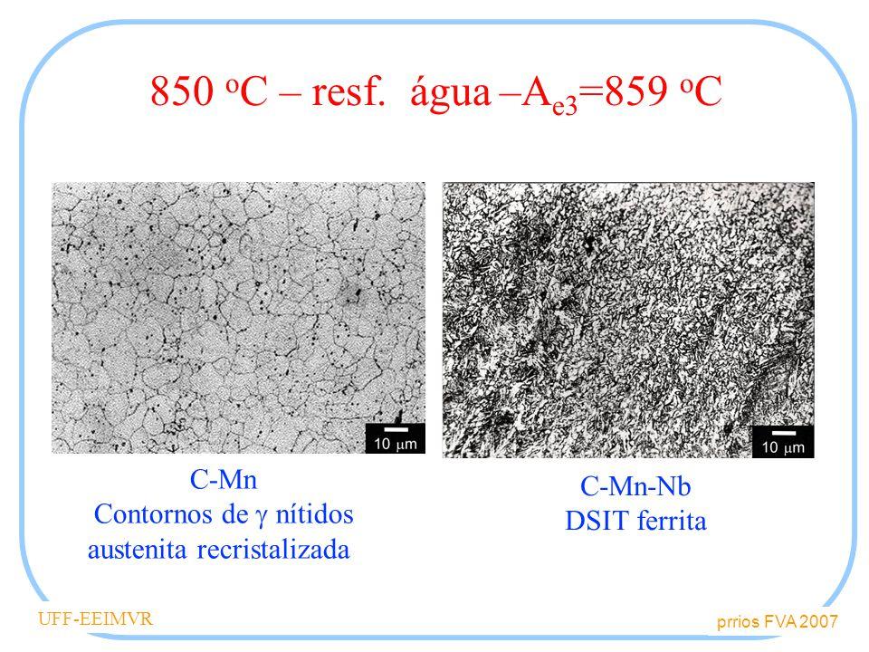 prrios FVA 2007 UFF-EEIMVR C-Mn Contornos de nítidos austenita recristalizada C-Mn-Nb DSIT ferrita 850 o C – resf.