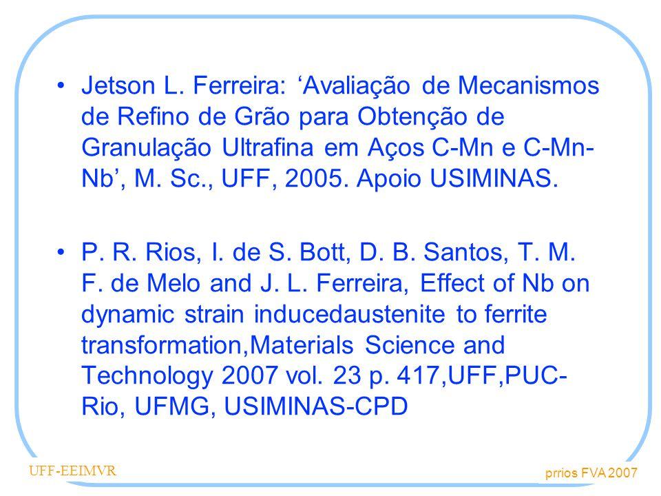 prrios FVA 2007 UFF-EEIMVR Conteúdo Aços de grãos ultrafinos Transformação dinâmica induzida por deformação Objetivo – efeito do Nb Materiais e Métodos Resultados Discussão Conclusões