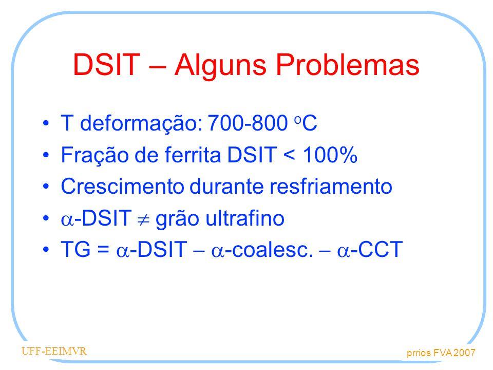 prrios FVA 2007 UFF-EEIMVR DSIT – Alguns Problemas T deformação: 700-800 o C Fração de ferrita DSIT < 100% Crescimento durante resfriamento -DSIT grão ultrafino TG = -DSIT -coalesc.