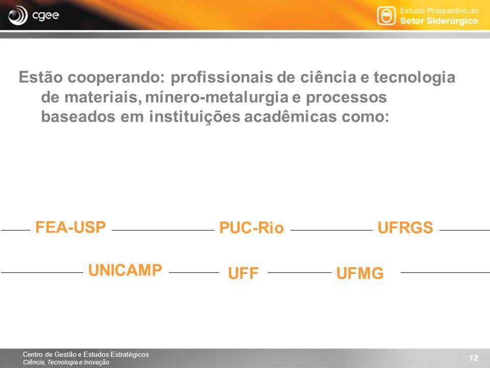 Centro de Gestão e Estudos Estratégicos Ciência, Tecnologia e Inovação 12 Estão cooperando: profissionais de ciência e tecnologia de materiais, mínero-metalurgia e processos baseados em instituições acadêmicas como: FEA-USP PUC-RioUFRGS UNICAMP UFFUFMG