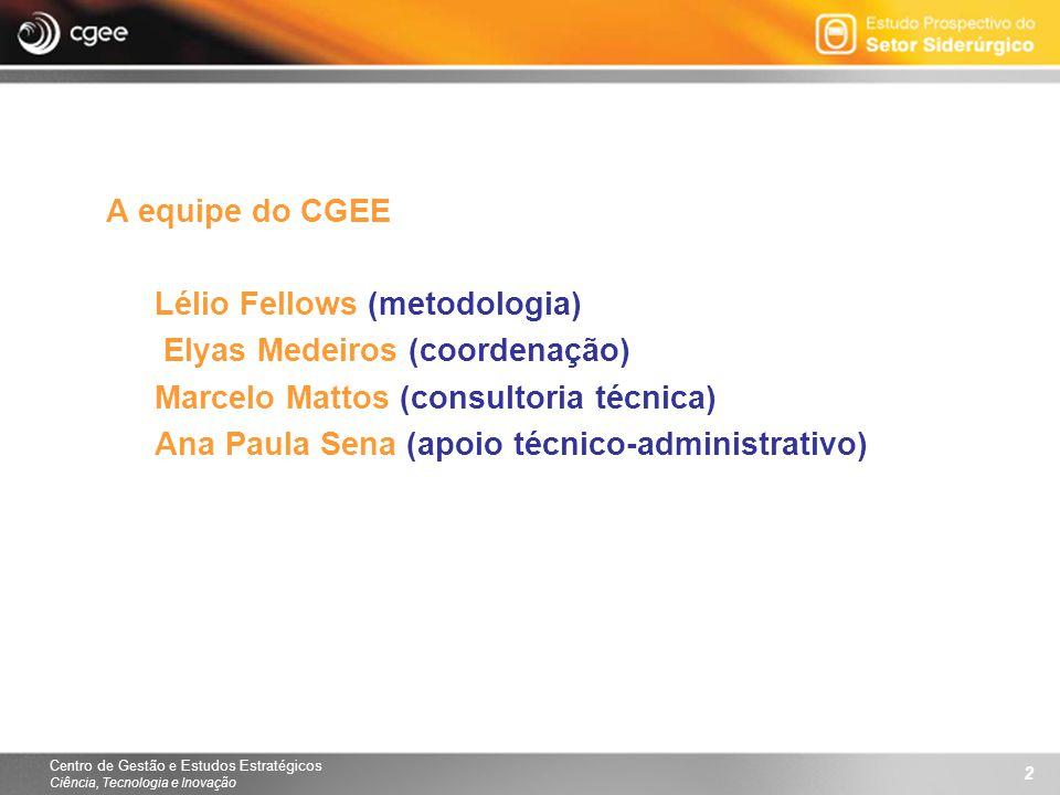 Centro de Gestão e Estudos Estratégicos Ciência, Tecnologia e Inovação 2 A equipe do CGEE Lélio Fellows (metodologia) Elyas Medeiros (coordenação) Mar