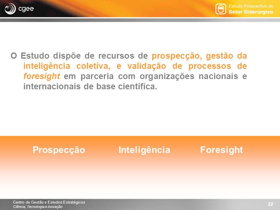 Centro de Gestão e Estudos Estratégicos Ciência, Tecnologia e Inovação 22 O Estudo dispõe de recursos de prospecção, gestão da inteligência coletiva,