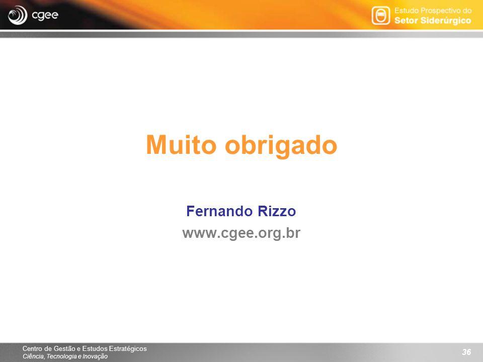 Centro de Gestão e Estudos Estratégicos Ciência, Tecnologia e Inovação 36 Muito obrigado Fernando Rizzo www.cgee.org.br