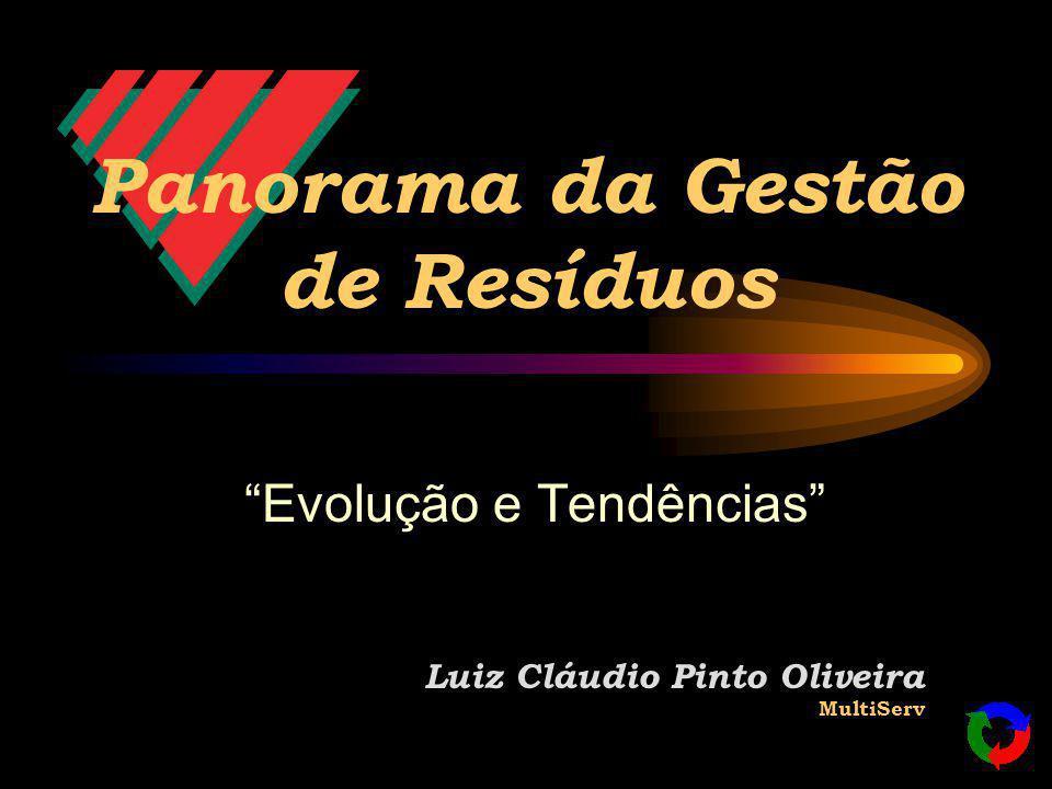Panorama da Gestão de Resíduos Evolução e Tendências Luiz Cláudio Pinto Oliveira MultiServ