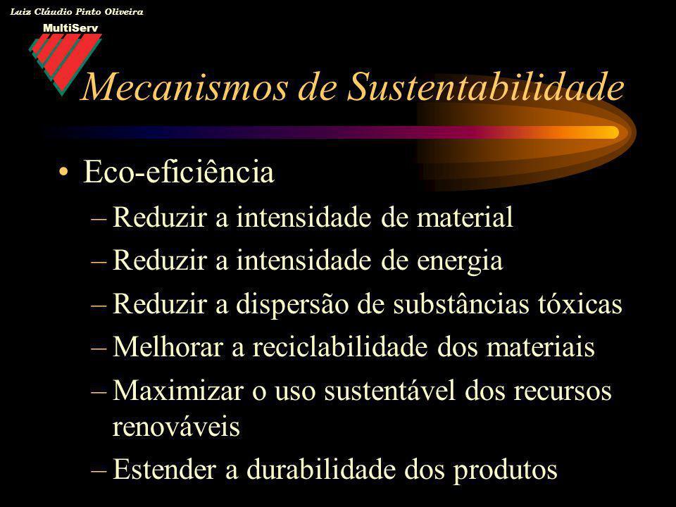 MultiServ Luiz Cláudio Pinto Oliveira Eco-eficiência –Reduzir a intensidade de material –Reduzir a intensidade de energia –Reduzir a dispersão de subs