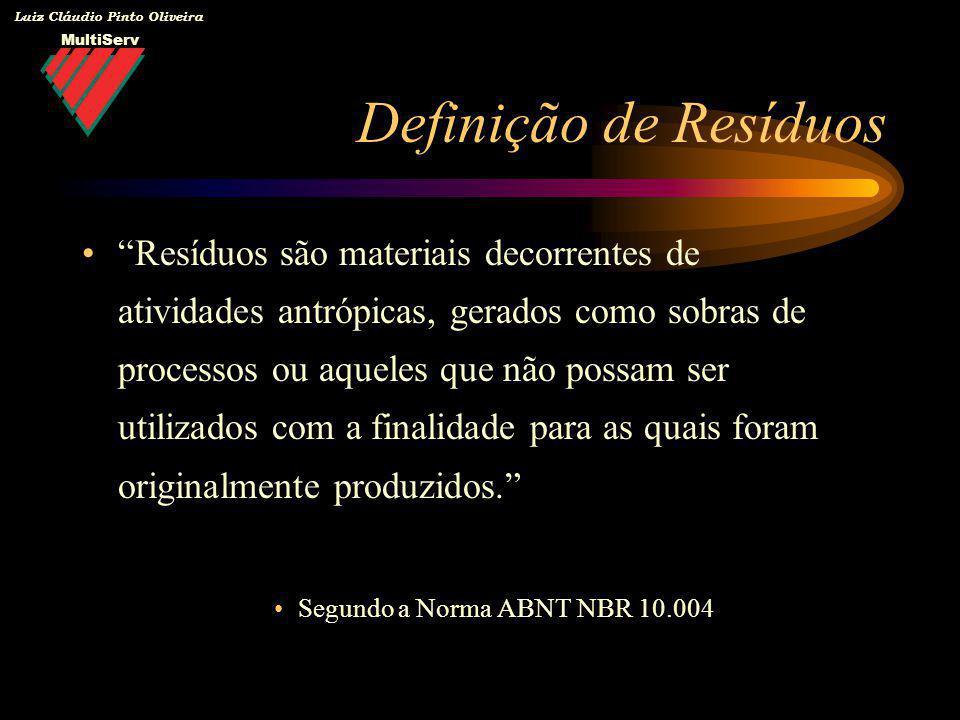 MultiServ Luiz Cláudio Pinto Oliveira Resíduos são materiais decorrentes de atividades antrópicas, gerados como sobras de processos ou aqueles que não