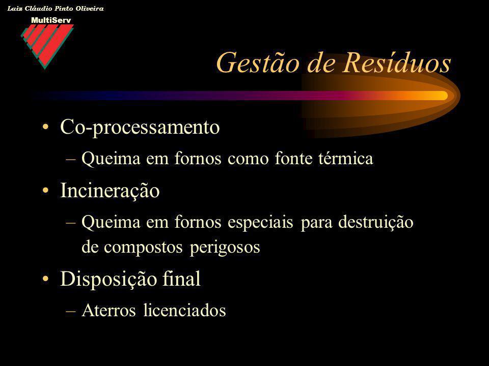 MultiServ Luiz Cláudio Pinto Oliveira Co-processamento –Queima em fornos como fonte térmica Incineração –Queima em fornos especiais para destruição de