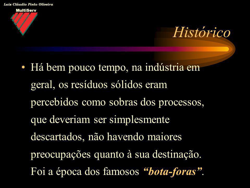Luiz Cláudio Pinto Oliveira Há bem pouco tempo, na indústria em geral, os resíduos sólidos eram percebidos como sobras dos processos, que deveriam ser