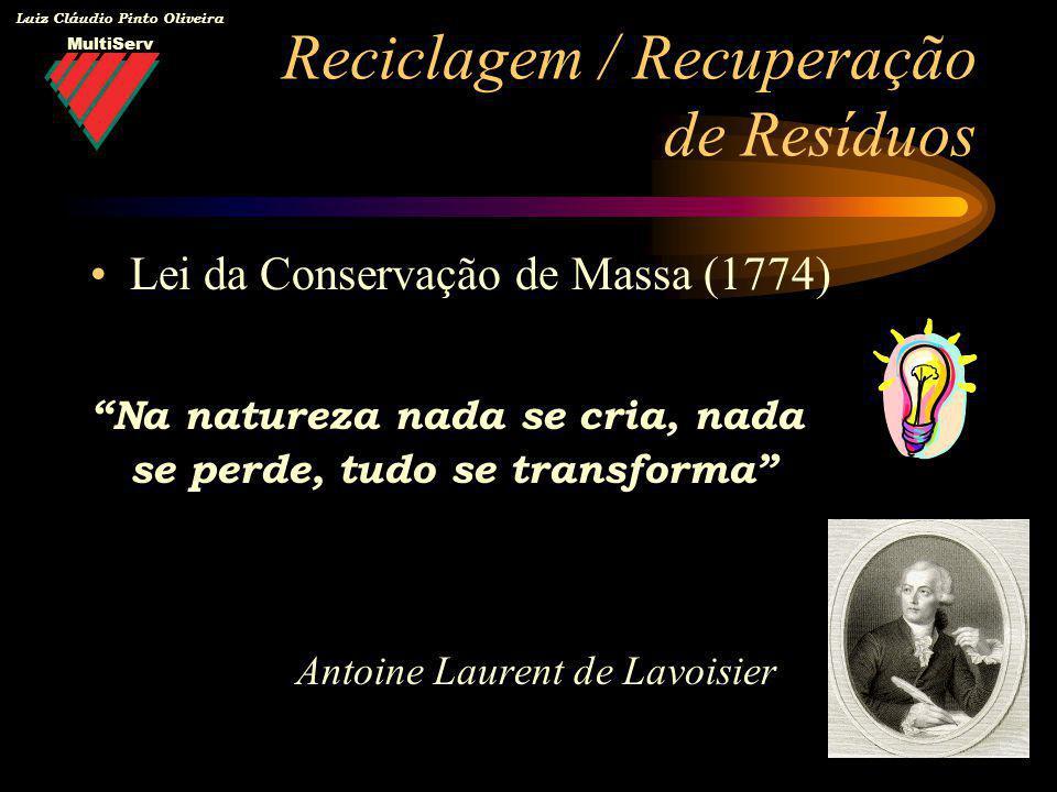 MultiServ Luiz Cláudio Pinto Oliveira Lei da Conservação de Massa (1774) Na natureza nada se cria, nada se perde, tudo se transforma Antoine Laurent d