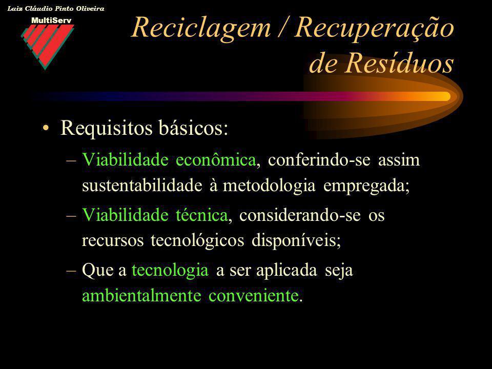MultiServ Luiz Cláudio Pinto Oliveira Requisitos básicos: –Viabilidade econômica, conferindo-se assim sustentabilidade à metodologia empregada; –Viabi