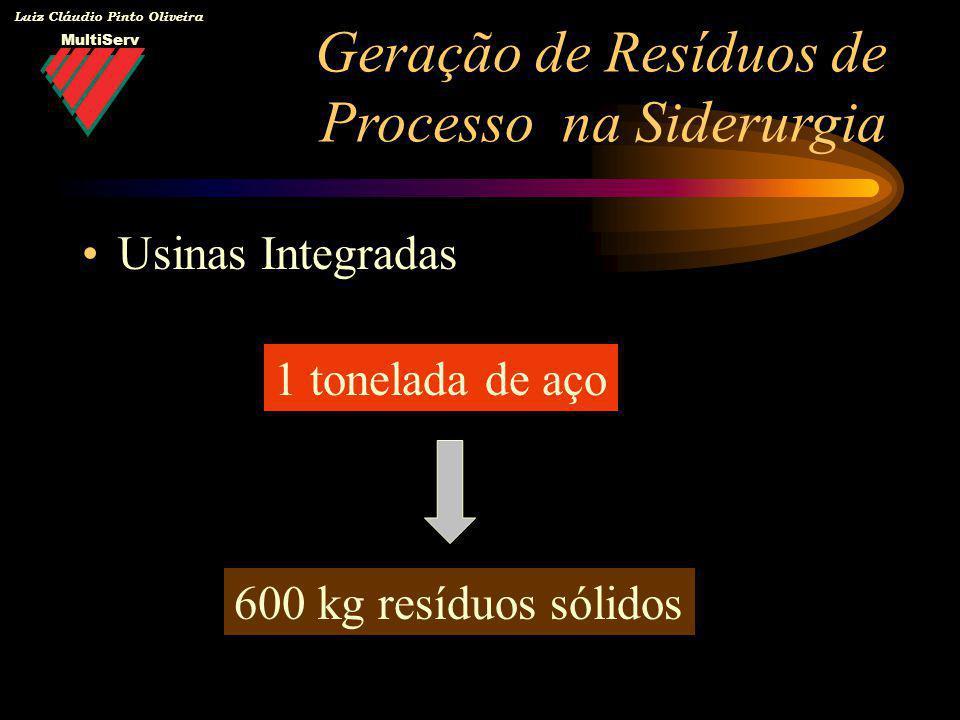MultiServ Luiz Cláudio Pinto Oliveira Usinas Integradas 1 tonelada de aço 600 kg resíduos sólidos Geração de Resíduos de Processo na Siderurgia