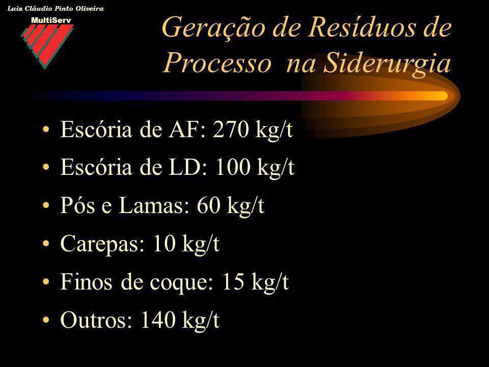 MultiServ Luiz Cláudio Pinto Oliveira Escória de AF: 270 kg/t Escória de LD: 100 kg/t Pós e Lamas: 60 kg/t Carepas: 10 kg/t Finos de coque: 15 kg/t Ou