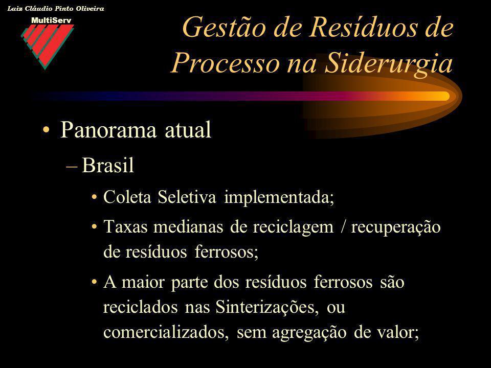 MultiServ Luiz Cláudio Pinto Oliveira Panorama atual –Brasil Coleta Seletiva implementada; Taxas medianas de reciclagem / recuperação de resíduos ferr