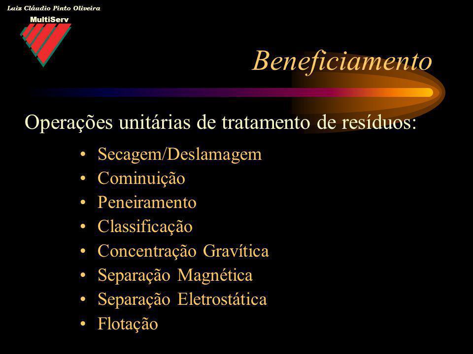 MultiServ Luiz Cláudio Pinto Oliveira Secagem/Deslamagem Cominuição Peneiramento Classificação Concentração Gravítica Separação Magnética Separação El