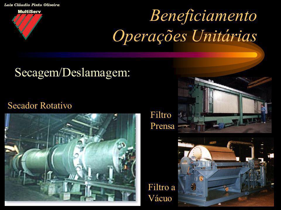 MultiServ Luiz Cláudio Pinto Oliveira Beneficiamento Operações Unitárias Secagem/Deslamagem: Secador Rotativo Filtro Prensa Filtro a Vácuo