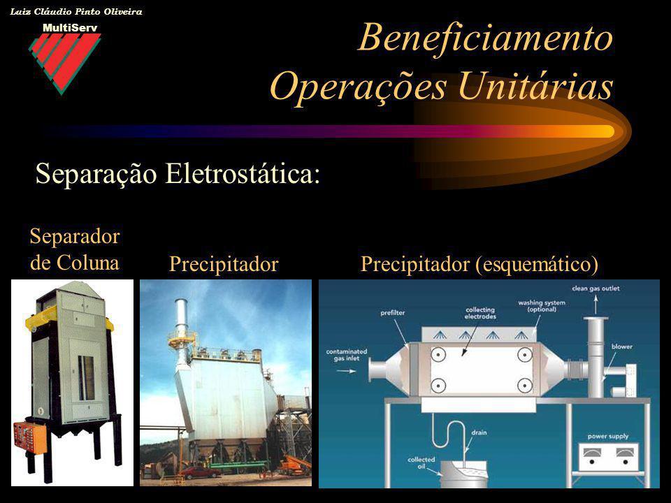 MultiServ Luiz Cláudio Pinto Oliveira Beneficiamento Operações Unitárias Separação Eletrostática: Separador de Coluna PrecipitadorPrecipitador (esquem