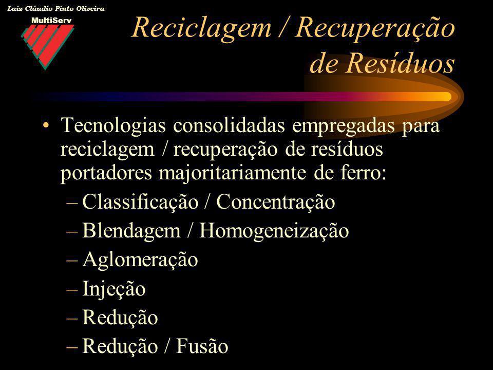 MultiServ Luiz Cláudio Pinto Oliveira Reciclagem / Recuperação de Resíduos Tecnologias consolidadas empregadas para reciclagem / recuperação de resídu