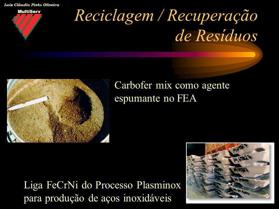 MultiServ Luiz Cláudio Pinto Oliveira Reciclagem / Recuperação de Resíduos Carbofer mix como agente espumante no FEA Liga FeCrNi do Processo Plasminox