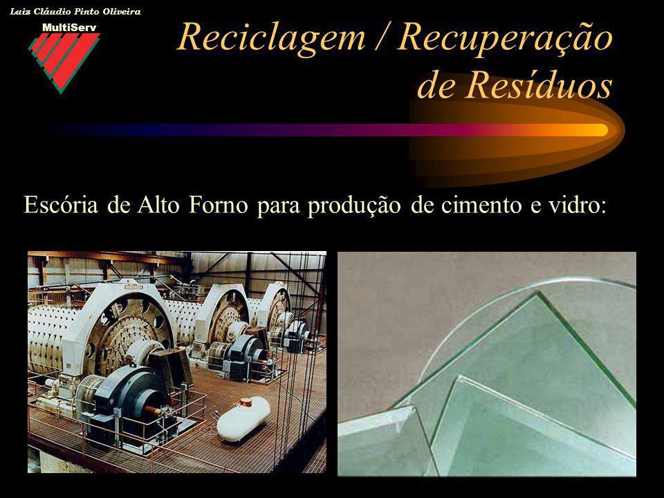 MultiServ Luiz Cláudio Pinto Oliveira Reciclagem / Recuperação de Resíduos Escória de Alto Forno para produção de cimento e vidro: