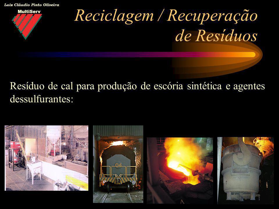 MultiServ Luiz Cláudio Pinto Oliveira Reciclagem / Recuperação de Resíduos Resíduo de cal para produção de escória sintética e agentes dessulfurantes: