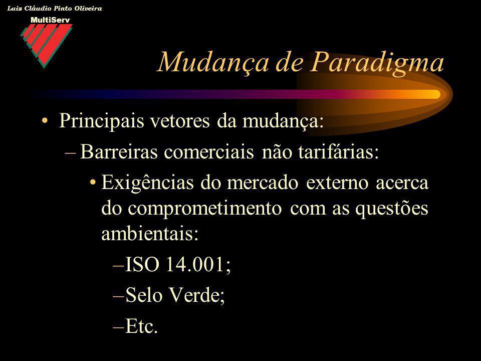 MultiServ Luiz Cláudio Pinto Oliveira Mudança de Paradigma Principais vetores da mudança: –Barreiras comerciais não tarifárias: Exigências do mercado