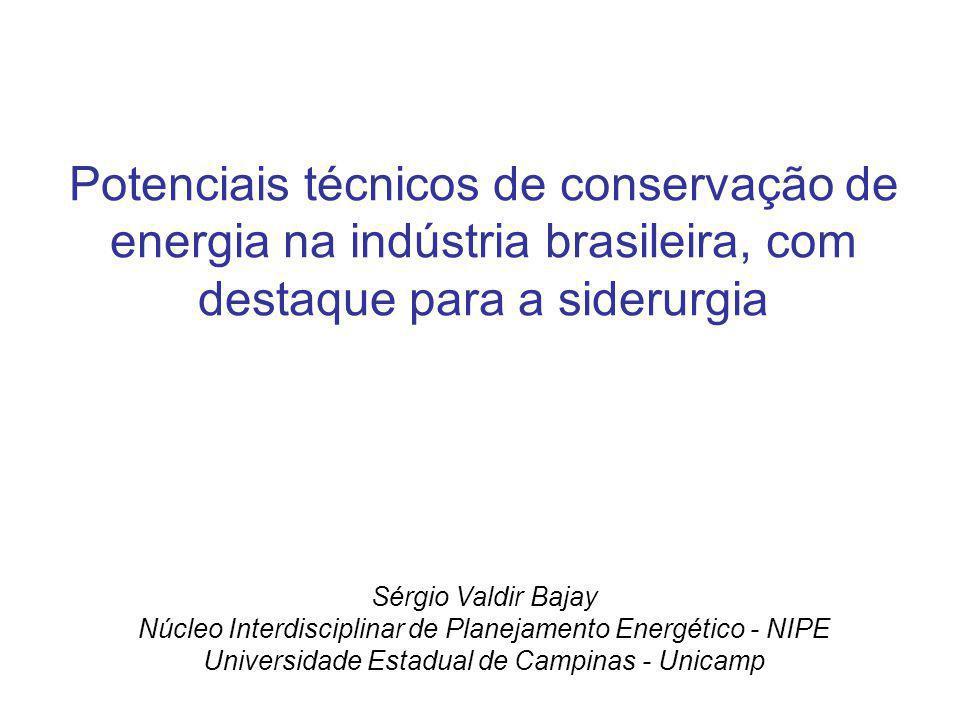 Potenciais técnicos de conservação de energia na indústria brasileira, com destaque para a siderurgia Sérgio Valdir Bajay Núcleo Interdisciplinar de P