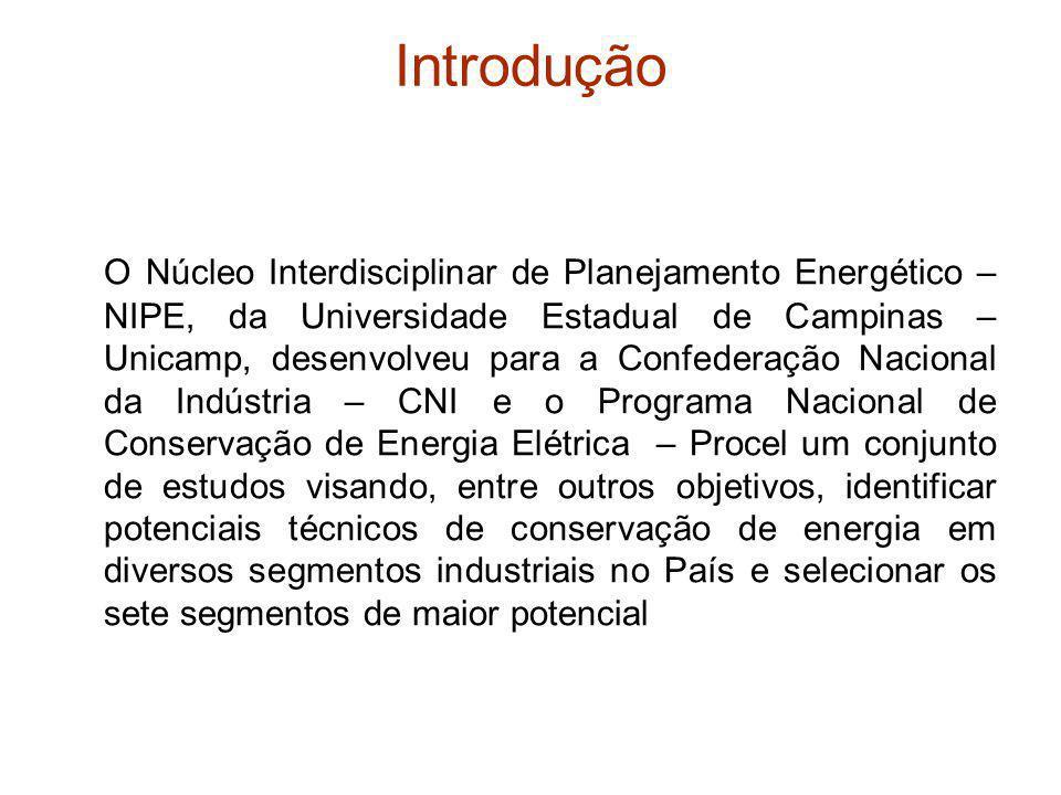 Potencial de conservação de energia nas usinas siderúrgicas no Brasil em 2007, segundo estimativas elaboradas pelo NIPE/Unicamp para a CNI/Procel Etapa do processo produtivoProduto Potencial de conservação de energia (tEP) Energia térmicaEnergia elétrica Total por etapa Aquecimento direto Calor de processo Força motriz Eletrotermia Fornos Caldeiras Motore s Fornos a arco CoqueificaçãoCoque638.101 59.277 35.763 0 733.142 SinterizaçãoSínter287.799 288 51.553 0 339.640 Redução – usinas integradas Ferro- gusa 1.631.436 36.699 287.967 0 1.956.102 Redução – produtores independentes Ferro- gusa 1.768.664 0 0 0 Refino – conversores LDAço bruto452.340 50.260 113.085 0 615.685 Refino – fornos elétricosAço bruto24.540 1.319 0 164.852 190.711 Laminação a quenteAço bruto593.139 6.597 205.996 0 805.733 Laminação a frioAço bruto164.530 59.931 188.857 0 413.317