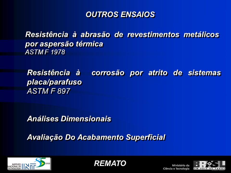 REMATO Resistência à abrasão de revestimentos metálicos por aspersão térmica ASTM F 1978 Resistência à abrasão de revestimentos metálicos por aspersão