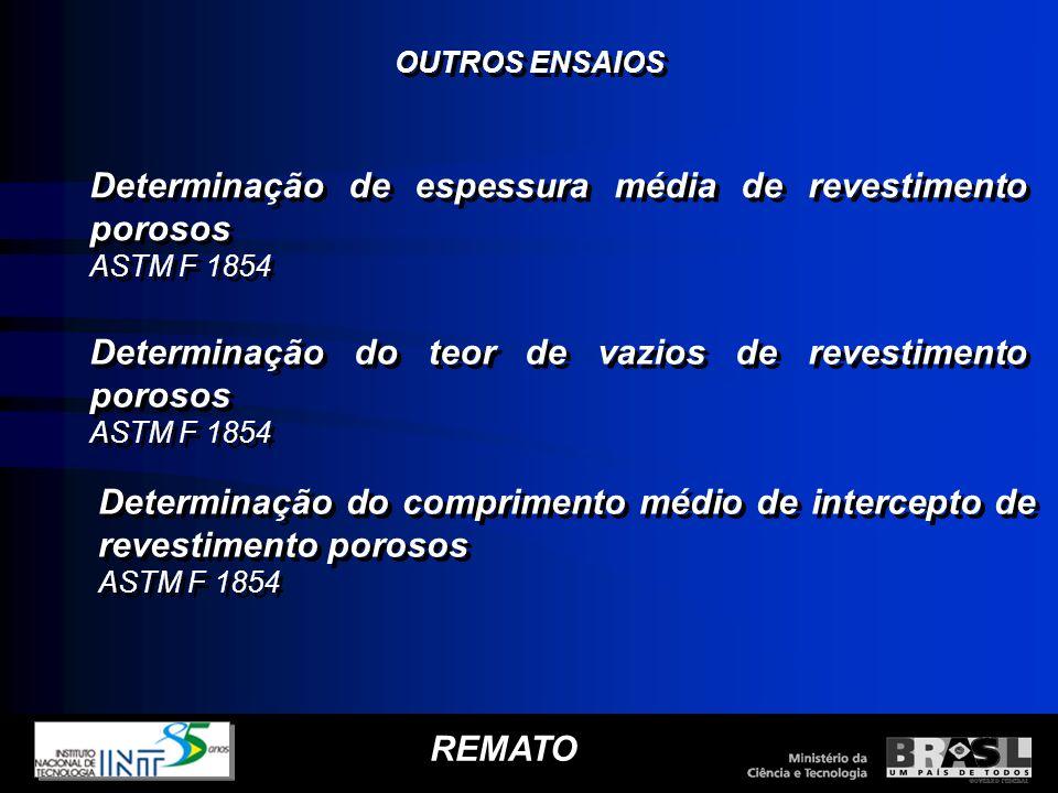 REMATO Determinação de espessura média de revestimento porosos ASTM F 1854 Determinação de espessura média de revestimento porosos ASTM F 1854 Determi