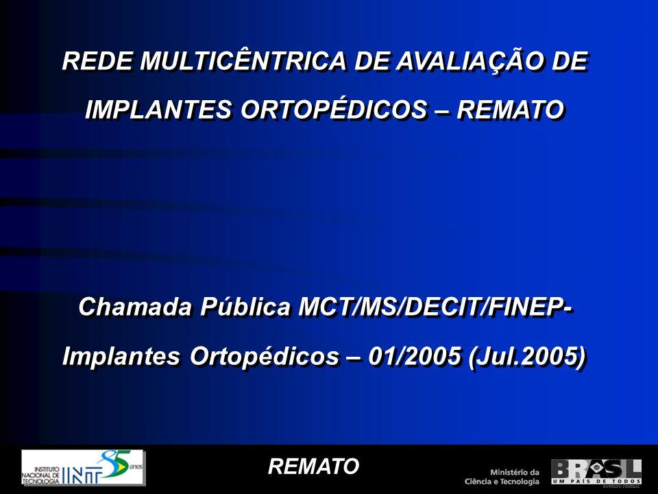 REMATO REDE MULTICÊNTRICA DE AVALIAÇÃO DE IMPLANTES ORTOPÉDICOS – REMATO Chamada Pública MCT/MS/DECIT/FINEP- Implantes Ortopédicos – 01/2005 (Jul.2005