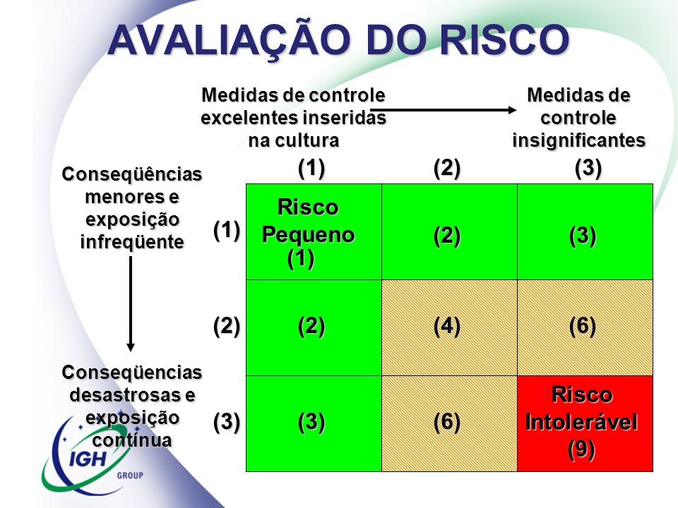 AVALIAÇÃO DO RISCO Medidas de controle excelentes inseridas na cultura Medidas de controle insignificantes Conseqüências menores e exposição infreqüen