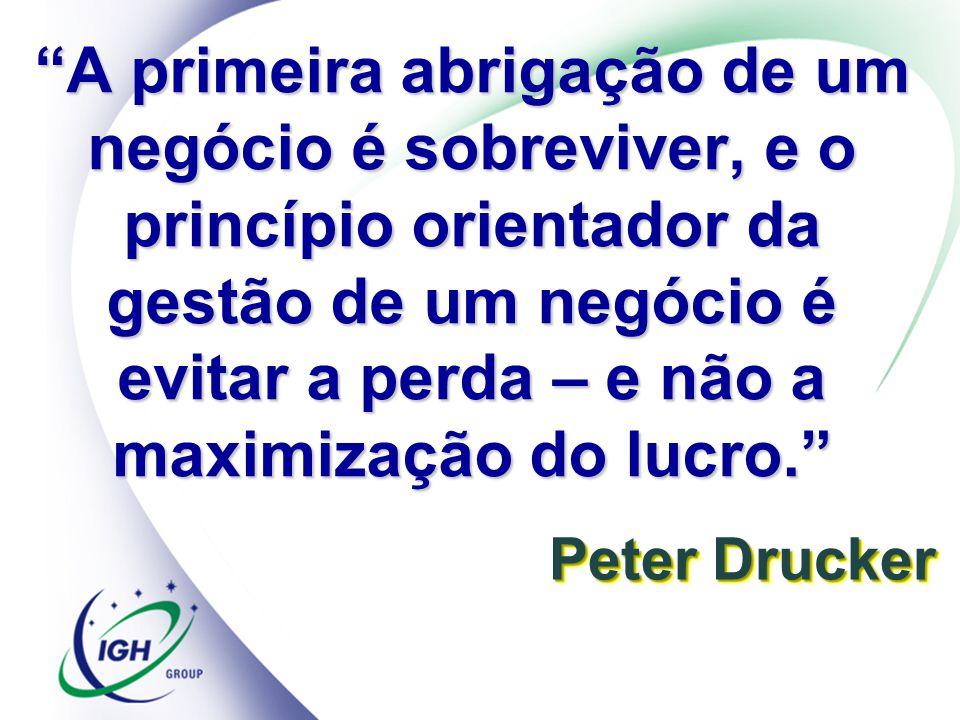 Peter Drucker A primeira abrigação de um negócio é sobreviver, e o princípio orientador da gestão de um negócio é evitar a perda – e não a maximização