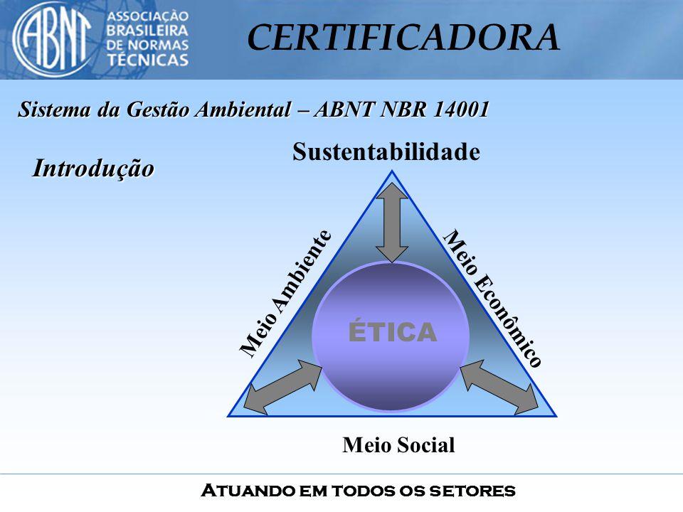 Atuando em todos os setores CERTIFICADORA Introdução Sustentabilidade ÉTICA Meio Ambiente Meio Social Meio Econômico Sistema da Gestão Ambiental – ABN